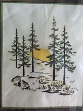 New listing Yellow Moon and Pine Trees Vintage Crewel Embroidery Kit Spinnerin Nip 16x20