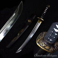 Wakizashi Short sword Folded Combat Steel Blade w Clay Tempered Sharp #1283