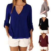 Fashion Women Long Sleeve Loose Blouse Casual V-neck Chiffon Tops T-Shirt New
