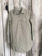 J. CREW Factory Petite Popover Tunic Women's PS Small Green Tab Sleeves Cotton