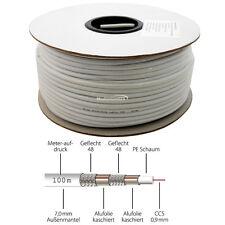 100m Koaxialkabel Antennen Kabel Quad Shield 6,8mm 4-fach geschirmt Koax