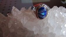 NAVAJO FRANCISCO A CONTEMPORARY INLAY RING S/S LAPIS /LAB OPAL SZ.11 NEW HEAVY