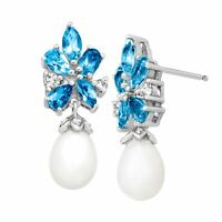 2 1/4 ct Natural Blue & White Topaz & Freshwater Pearl Earrings Sterling Silver