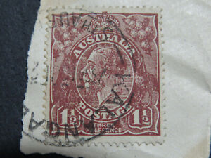 """Variety on KGV 1 1/2d Brown - Flaw on """"R"""" of Australia"""