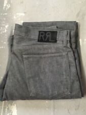 Double rl RRL GRAY Slim Fit Jeans unwashed rigid raw denim japan woven jeans new