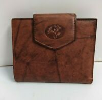 Buxton Vintage Brown Leather Flower Kisslock  Bifold Wallet
