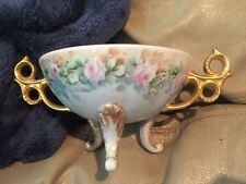 O. Spooney Footed Candy Dish Gold Trim Floral Design