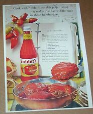 1960 print ad page - Snider's chili pepper Catsup hamburger burger recipe ADVERT