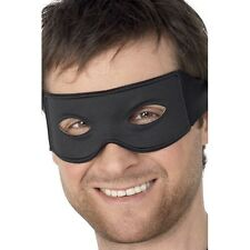 Bandit Eye Mask & Tie Scarf Fancy Dress Plain Black Costume Masquerade Burglar
