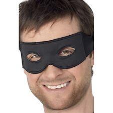 Bandit Eye Mask & Tie Scarf Fancy Dress Plain Black Costume Masquerade Burglar