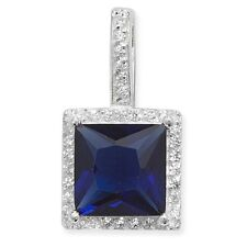 Argento sterling taglio princess zaffiro blu zircone cubico aureola ciondolo
