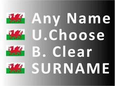 """""""SMALL"""" Rally Decals, Name Stickers Wales Flag 20mm Tall (F2)"""