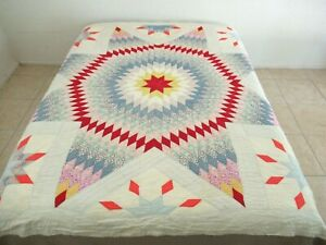 """FOR DIFFICULT RESTORATION Vintage Feed Sack Hand Sewn LONE STAR Quilt; 82"""" x 77"""""""