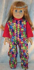 "Doll Clothes Made 2 Fit American Girl 18"" inch Pajamas Puzzle Pieces Red"