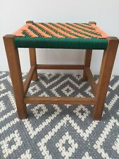 Vintage Retro stool/ woven top - Bright Orange & Green Side Table/plant Stand