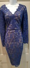 Womens Gina Bacconi Blue Beige Lace Stretch Occasion Evening Cocktail Dress 14.