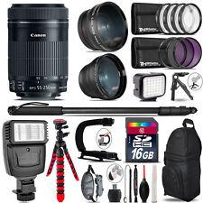 Canon 55-250mm IS STM + Slave Flash + LED Light + Tripod - 16GB Accessory Bundle