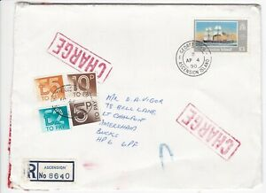 1990 Ascension Island £1 Registered cover with £7.15 More to Pay as shown.