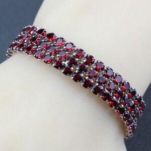 Bracelet Women Garnet 925 Sterling Silver Wedding Link Chain Vintage Gemstone