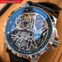 NEW Mens Flywheel Stainless Steel Skeleton Exhibition Automatic Mechanical Watch