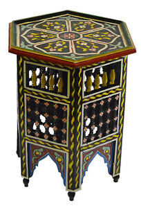 Moroccan Handmade Moucharabi Table Side Delicate Hand Painted Exquisite Black