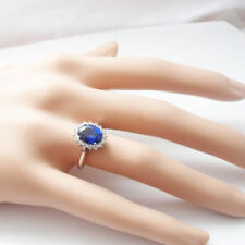3.48 CT Oval Blue Sapphire Gemstone Diamond Ring 14k White Gold Rings Size M 1/2