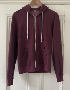 """American Apparel Mens Womens Burgundy Wine Red Hoodie Hooded Jacket S Ch 34-36"""""""