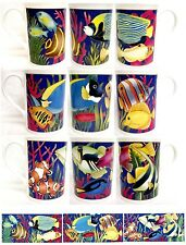 Coral Reef Mugs Set 3 Fine Bone China Tropical Fish Cups Hand Decorated in UK