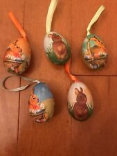 Lot Of 5 Easter Bunny Rabbit Egg Ornaments Baskets Spring Flowers Holiday