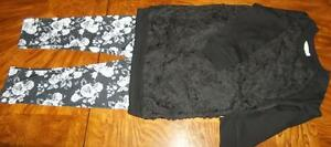 NEW w/ Tags Girls Black & Floral 3pc Pant set w/ 2 pants & 1 Top s/ 10-12