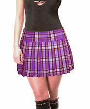 2e7cc2f4eb3 PURPLE STRETCH LYCRA SCHOOLGIRL TARTAN PLAID PLEATED MINI SKIRT 13