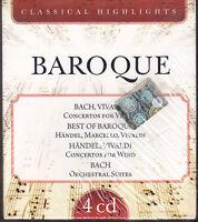 4 CD Box Cofanetto «BAROQUE ♫ CLASSICAL HIGHLIGHTS ♫ VIVALDI BACH HANDEL» nuovo