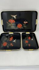 Set 3 Vintage Japanese Shiny Black Laquer Ware Nesting Trays Hummingbirds Floral