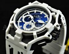 Invicta 52mm Akula DARK BLUE DIAL Chronograph Black IP SS Case White Strap Watch