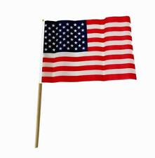 """Lot of 100 Pieces - USA Patriotic Polyester Wooden Stick Flags (8"""" x 12"""")"""