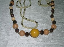 Cream Mustard & Goldtone Spacer Bead Necklaces Vintage Lot of 3 Shades of Brown