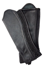Black Soft Leather Gaiters / Half Chaps with Ribbed Covered Elastic Gusset