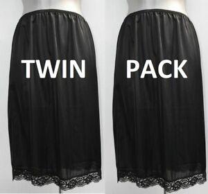 """2 x (twin pack) LADIES half slip waist petticoat, BLACK, lace hem NEW 23"""" long"""