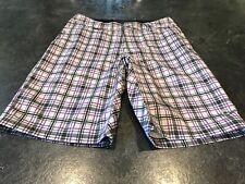Men's Cannondale Gray Purple Flat Front Chino Bermuda Shorts Size S
