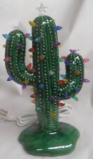 Medium Christmas Cactus Glossy Green Glazed Ready 2 Light Ceramic Shiny Wwc #203