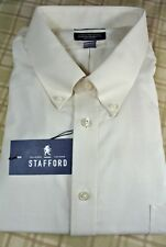 NWT $60 Stafford Ecru Wrinkle Free Oxford Long Sleeve Dress Shirt BIG 20 38/39