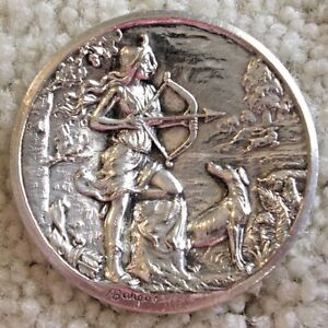 Ex Rare Huge honking concave silver plated BARGAS Diana the Huntress button