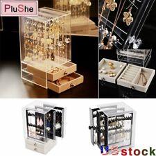Dustproof Acrylic Earrings Display case Jewelry Storage Box Drawers Rack Holder