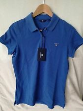 GANT women T shirt polo neck royal blue short sleeves new Size S RRP£70 pique