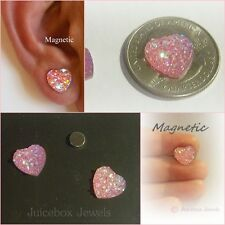 MAGNETIC Pink HEART Faux Druzy Stud Non-Pierced Iridescent 12mm Earrings #M120
