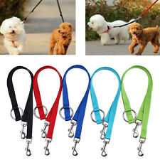 Nylon Double Lead Coupler Twin Dog Two Pet Dog Walking Duplex Leash Splitter NEW