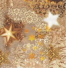 2 Serviettes en papier Noël étoile Decoupage Paper Napkins Gold rush