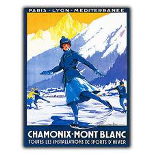 Chamonix Mont Blanc Métal Signe Plaque Rétro Vintage Voyage Vacances Pub poster