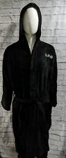 Def Leppard Plush Cotton Hooded Embroidered Black Bathrobe Spa Robe - One Size