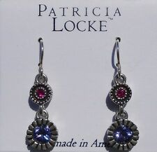 Patricia Locke Shanti Pink & Purple Celebration Silvertone Hook Earrings